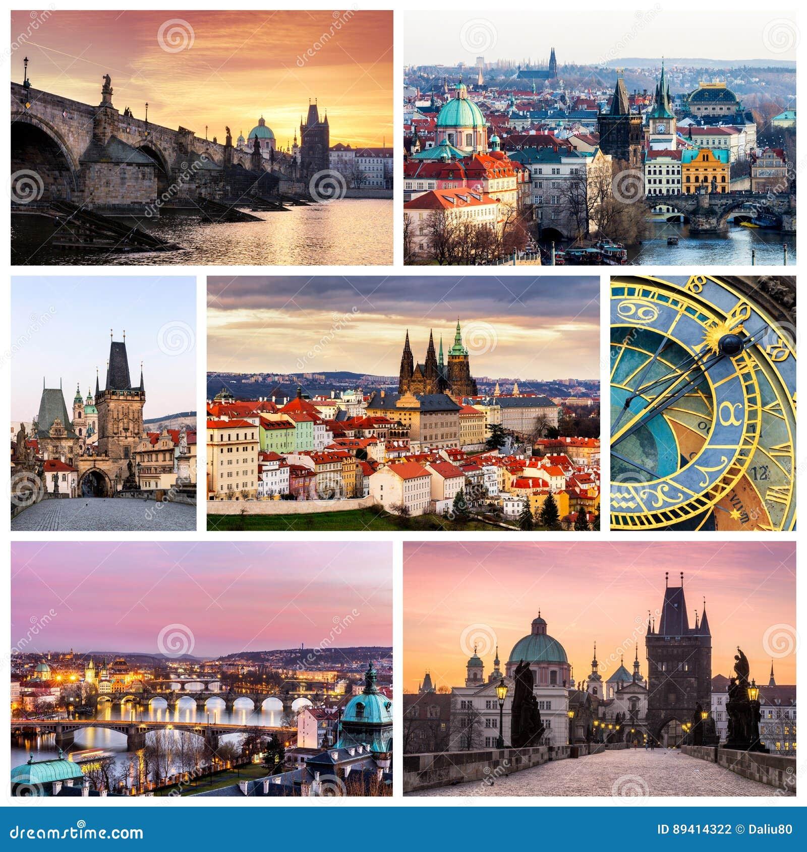 Colagem da foto de Praga, República Checa A colagem inclui o majo