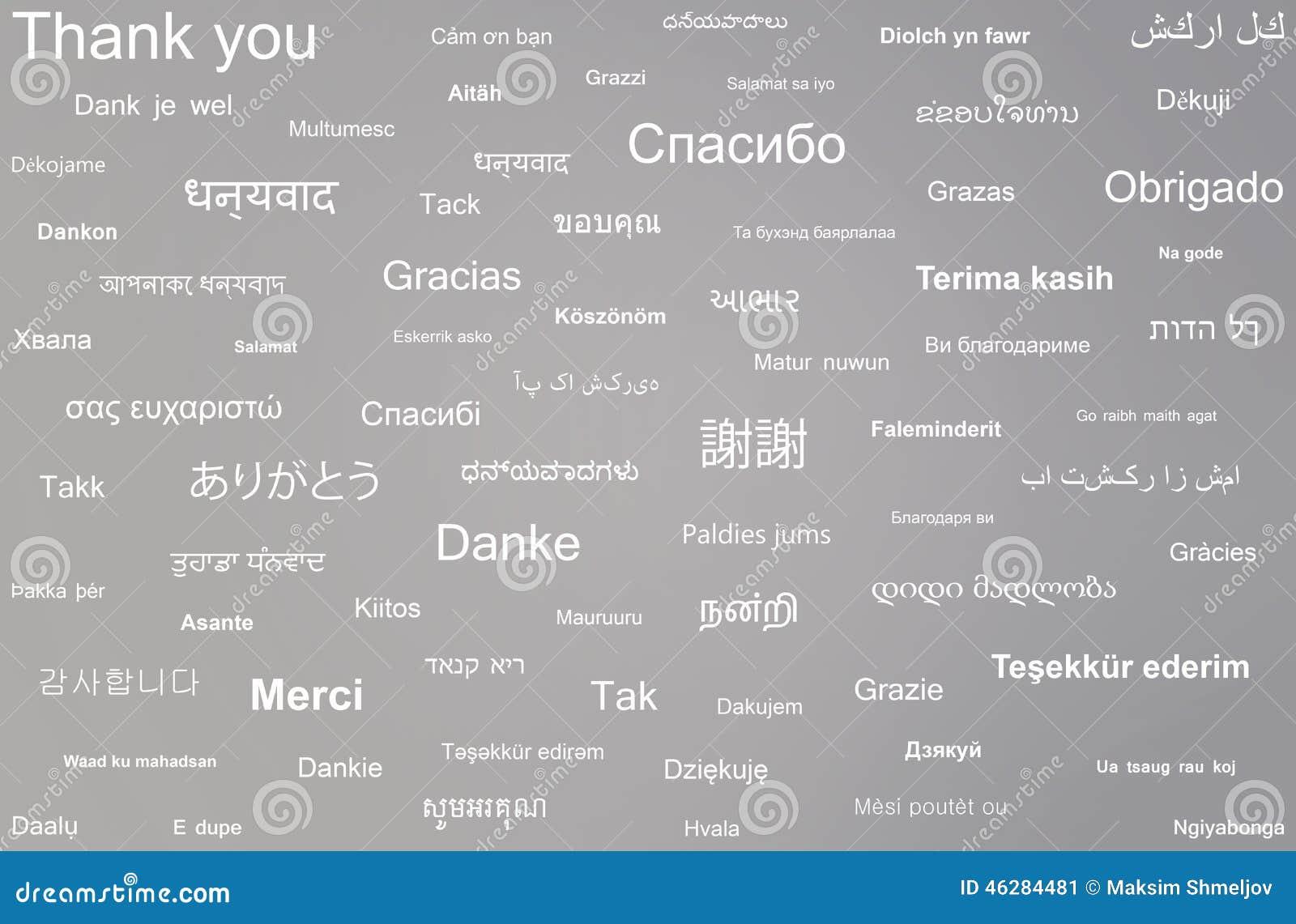 A Colagem Da Frase Agradece Lhe Escrito Em Línguas