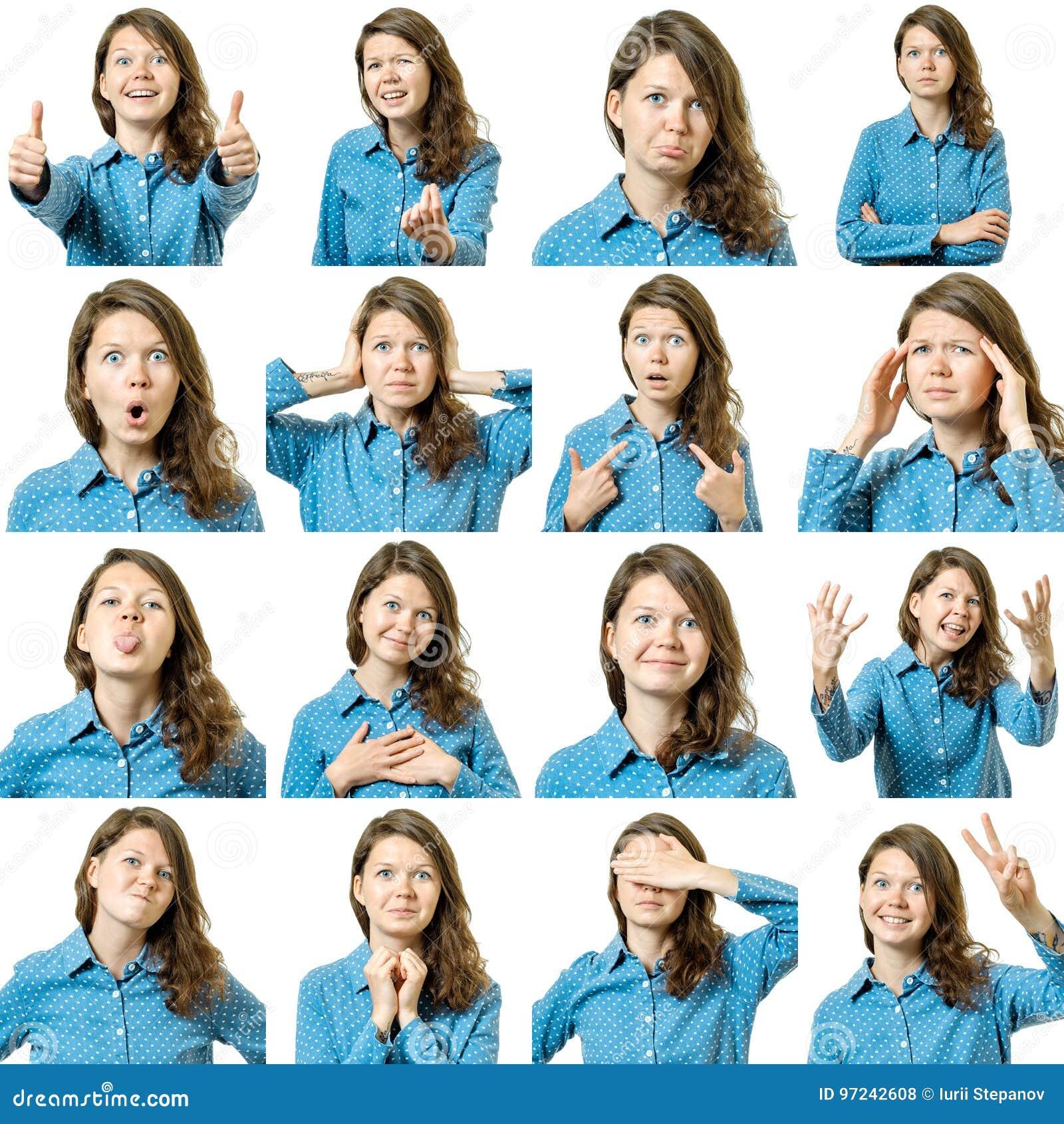 Colagem da menina bonita com expressões faciais diferentes