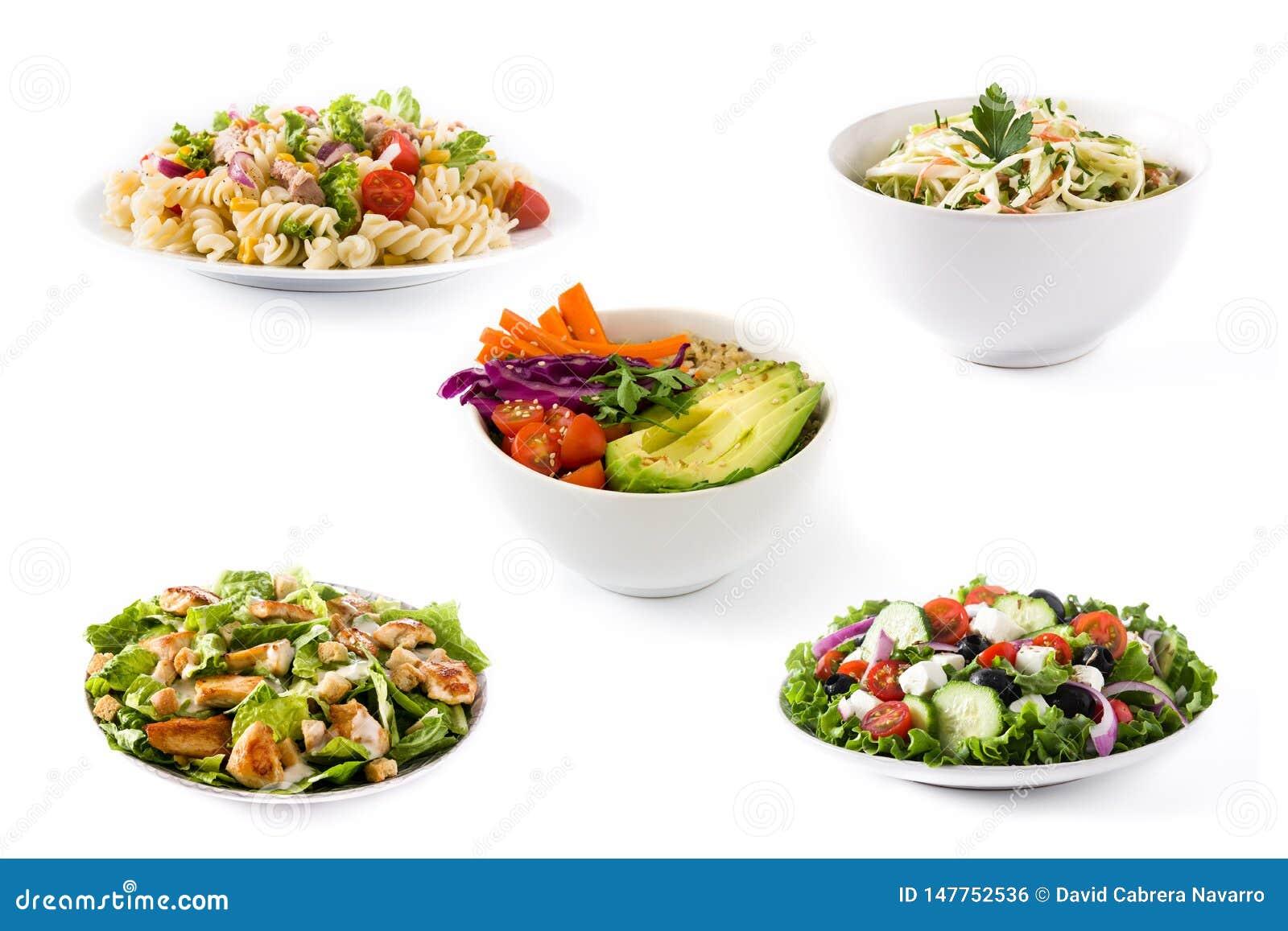 Colagem da salada saud?vel Salada grega, salada de massa, salada de Caesar e bacia da Buda