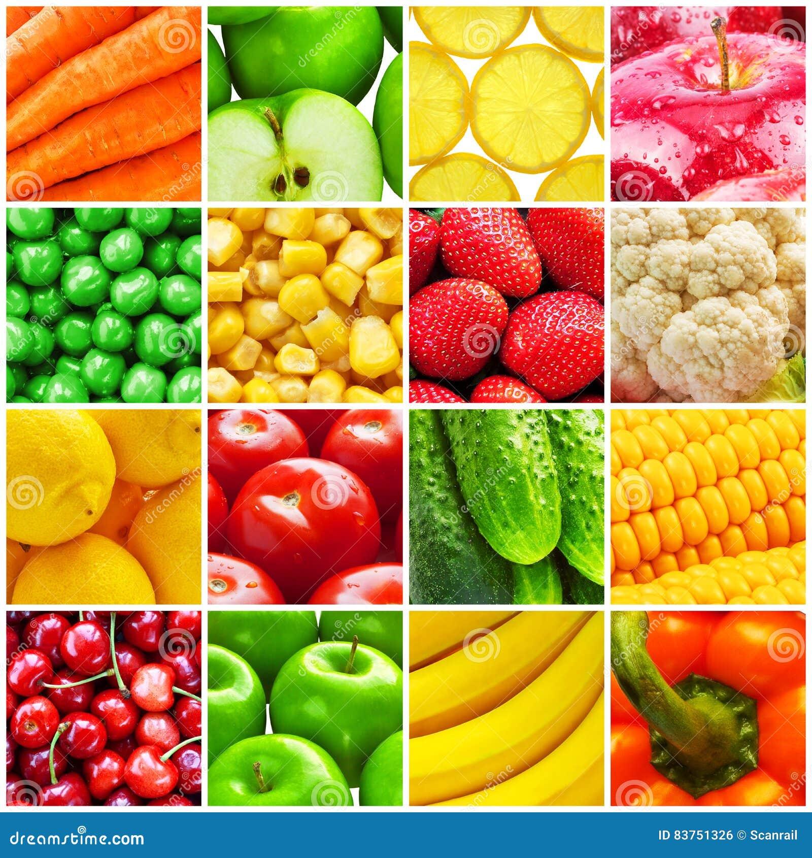 Colagem das frutas e legumes frescas