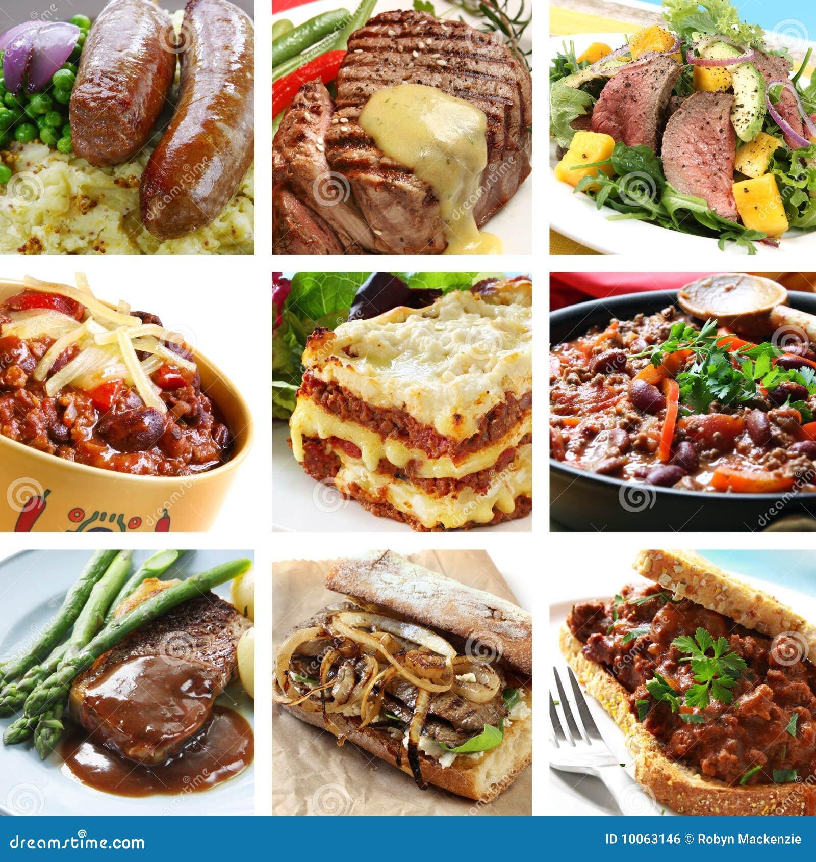 Colagem das refeições da carne