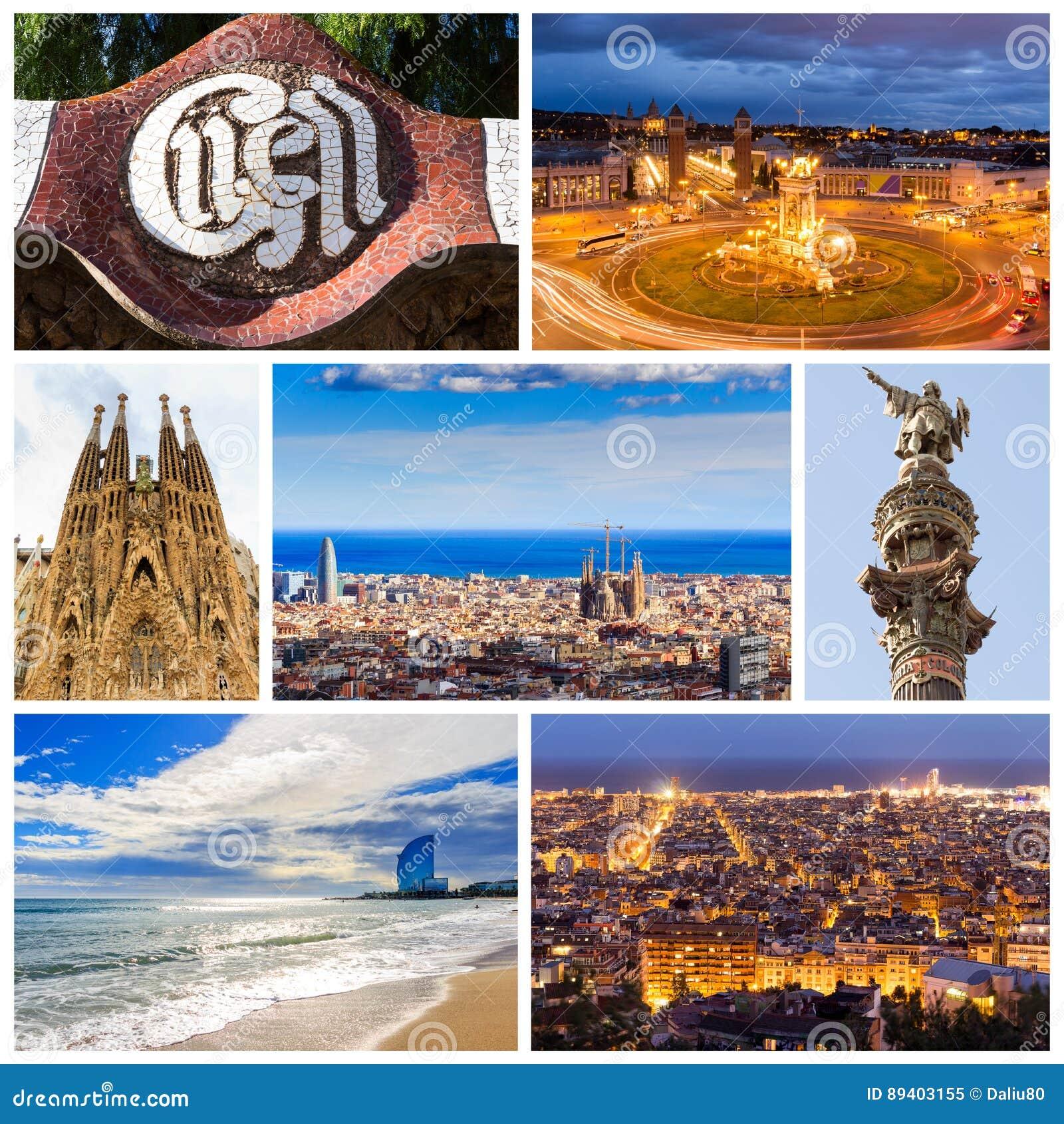 Colagem de Barcelona bonita catalonia spain