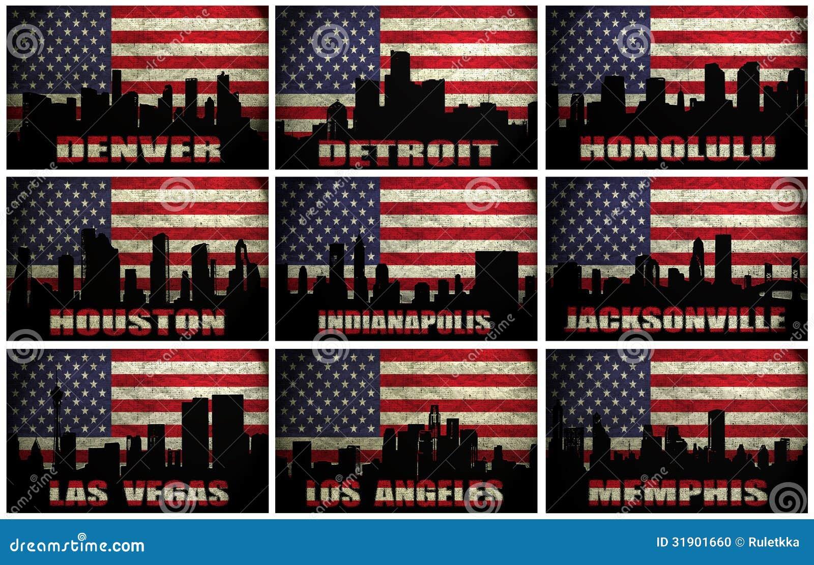 Colagem de cidades famosas dos EUA de D a M