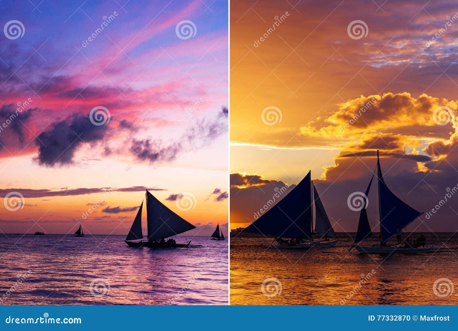 Colagem de duas imagens verticais com os veleiros no por do sol