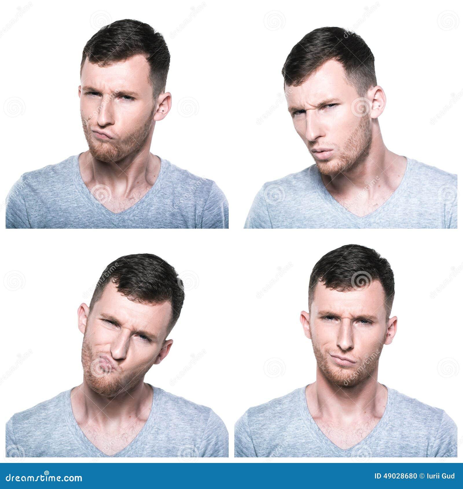 Colagem de expressões duvidosas, querstionable, incrédulos da cara