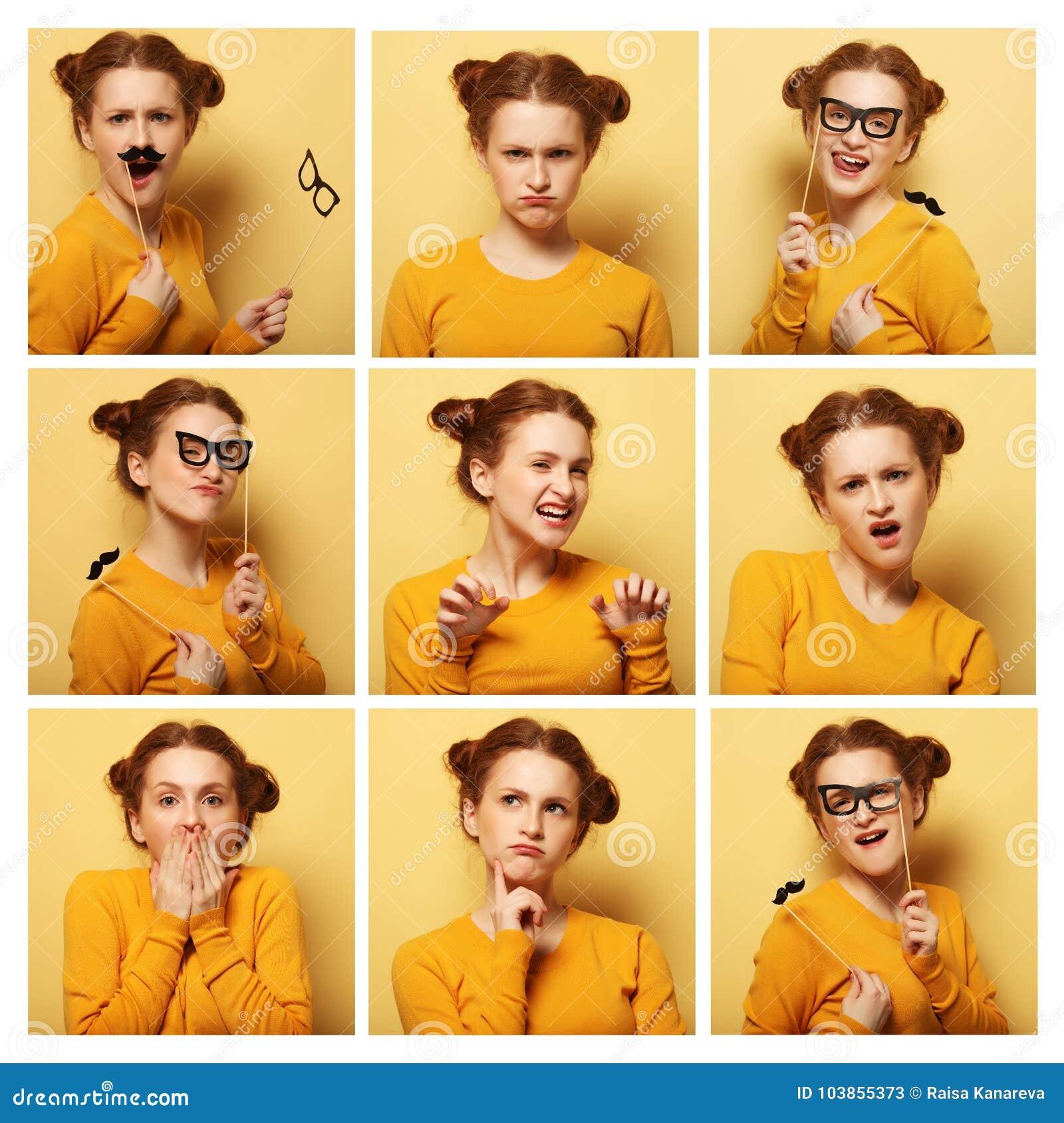 Colagem de expressões faciais diferentes da jovem mulher