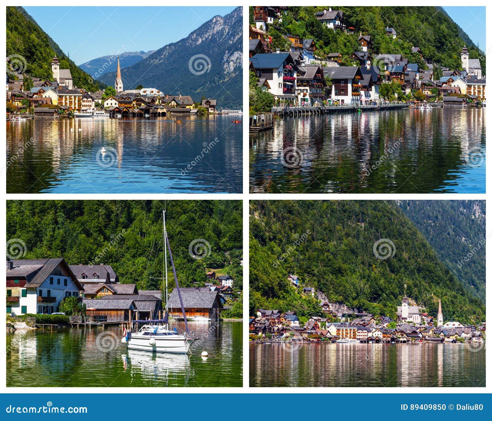 Colagem de fotos da vila de Hallstatt em Áustria
