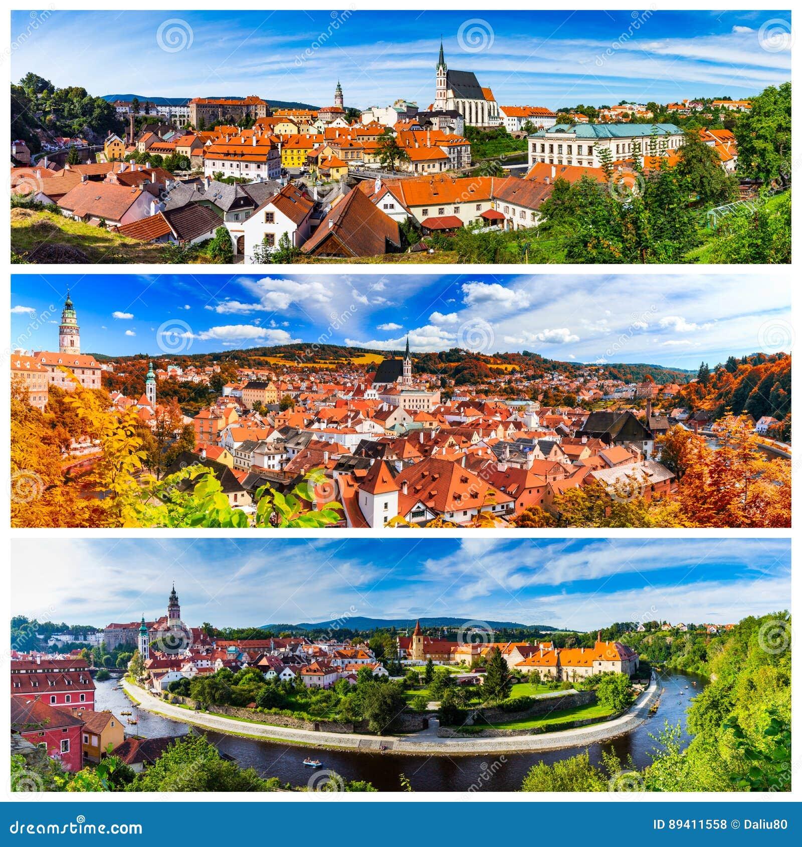 Colagem de fotos de Cesky Krumlov em Czechia
