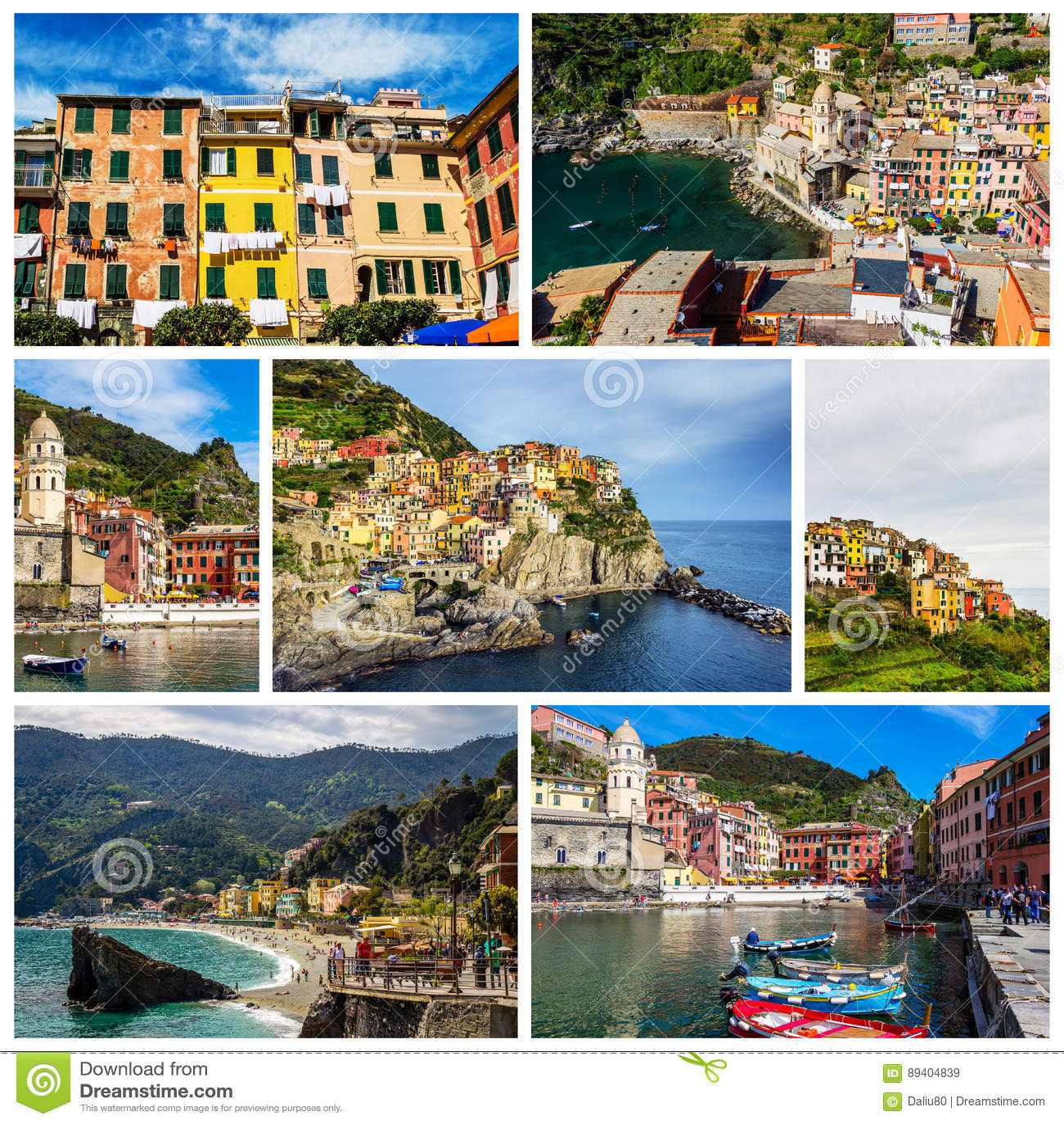 Colagem de fotos de Cinque Terre em Itália (Vernazza, Manarola, segunda-feira