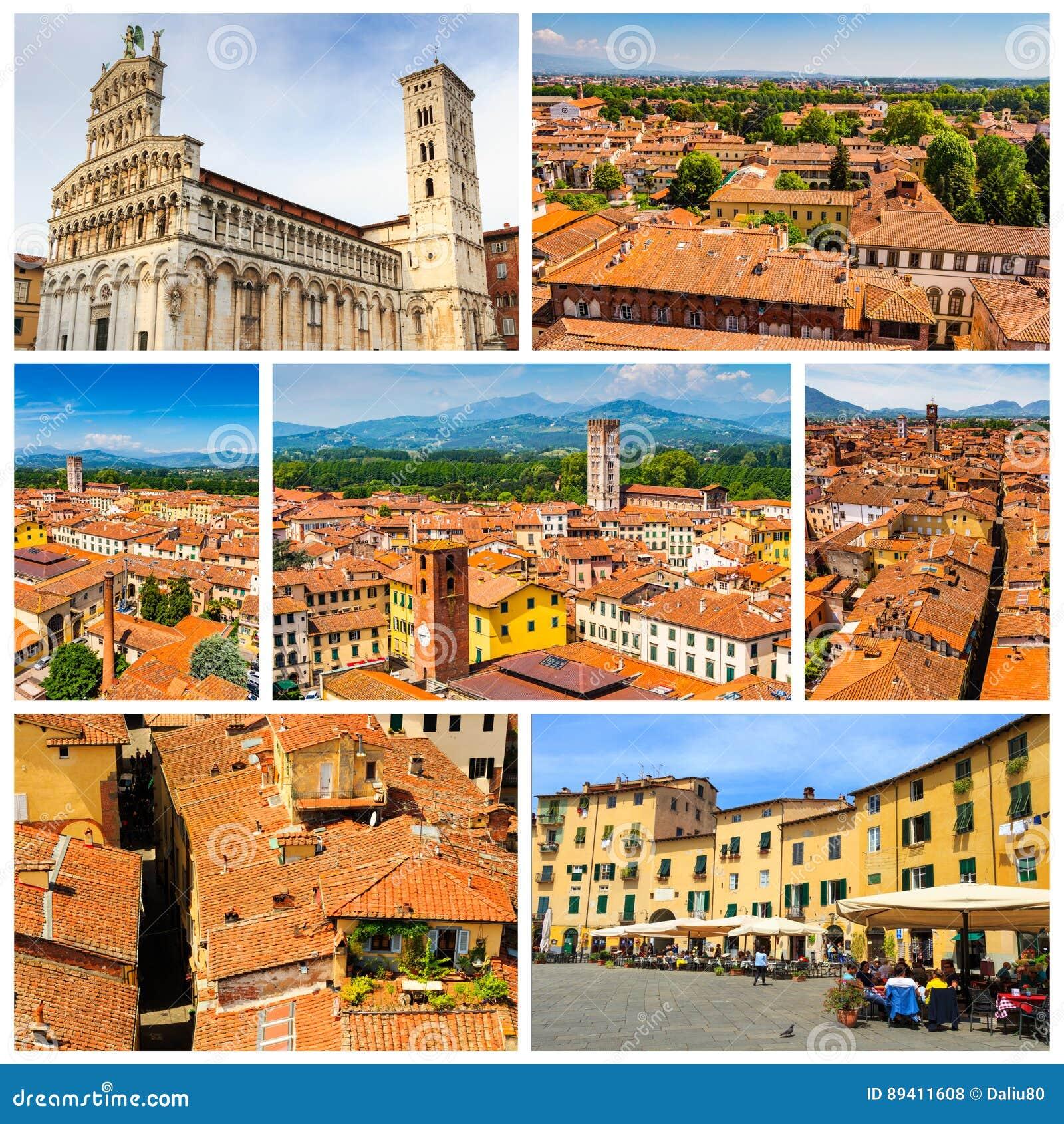 Colagem de fotos de Lucca com o telhado da terracota em Itália