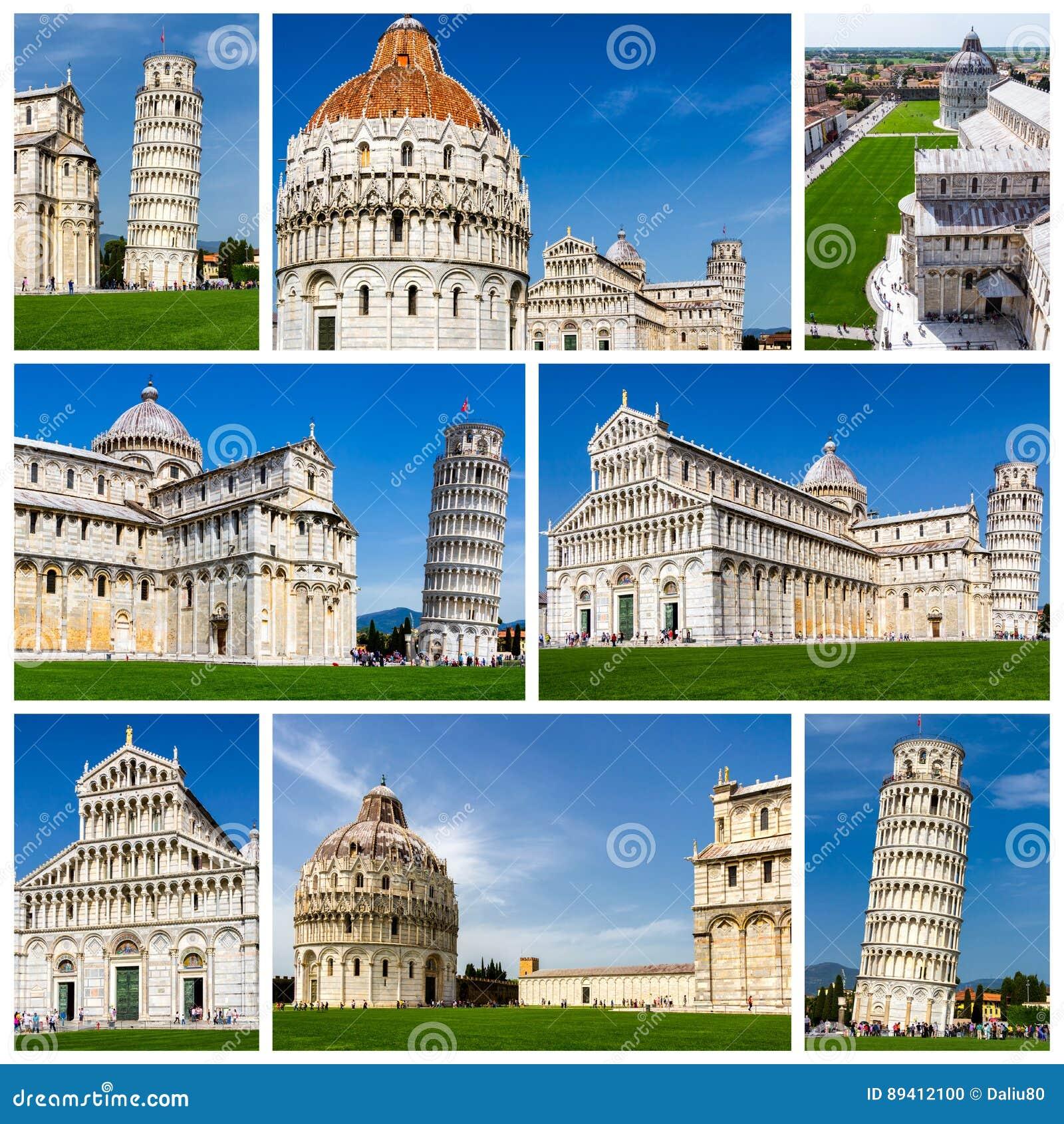 Colagem de fotos de Pisa em Itália (torre inclinada de Pisa, praça d