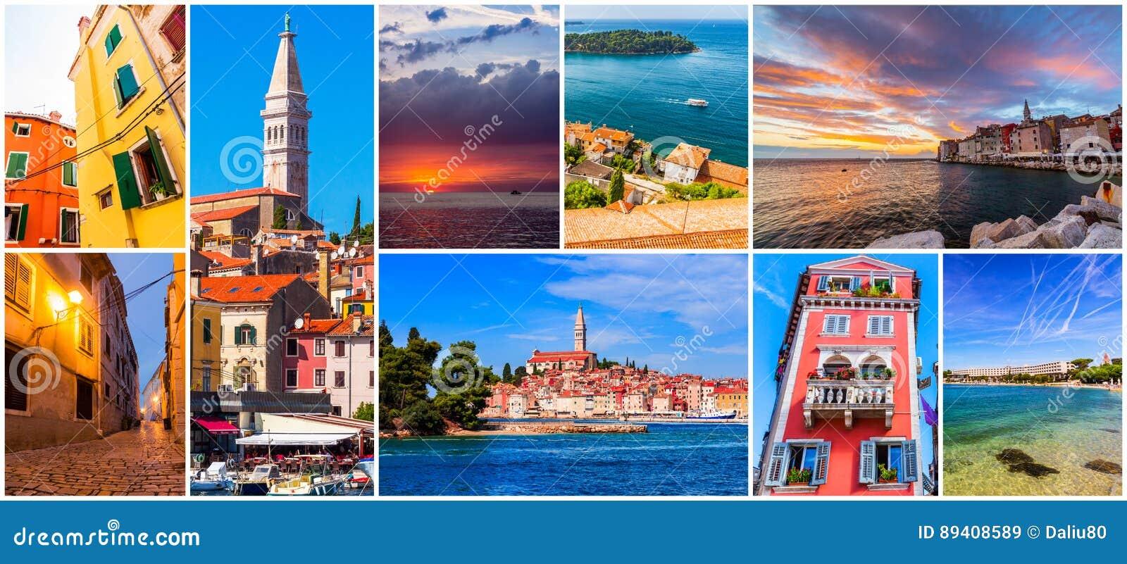 Colagem de fotos de Rovinj na Croácia