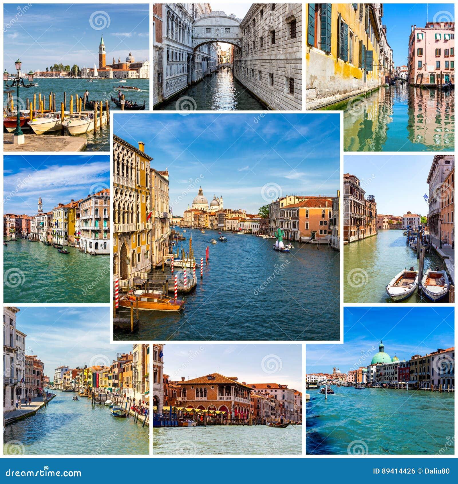 Colagem de fotos de Veneza em Itália