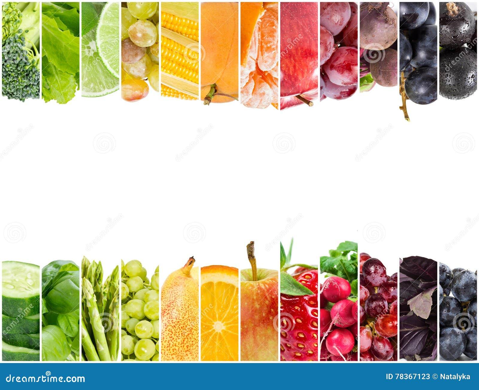 Colagem de frutas e legumes frescas