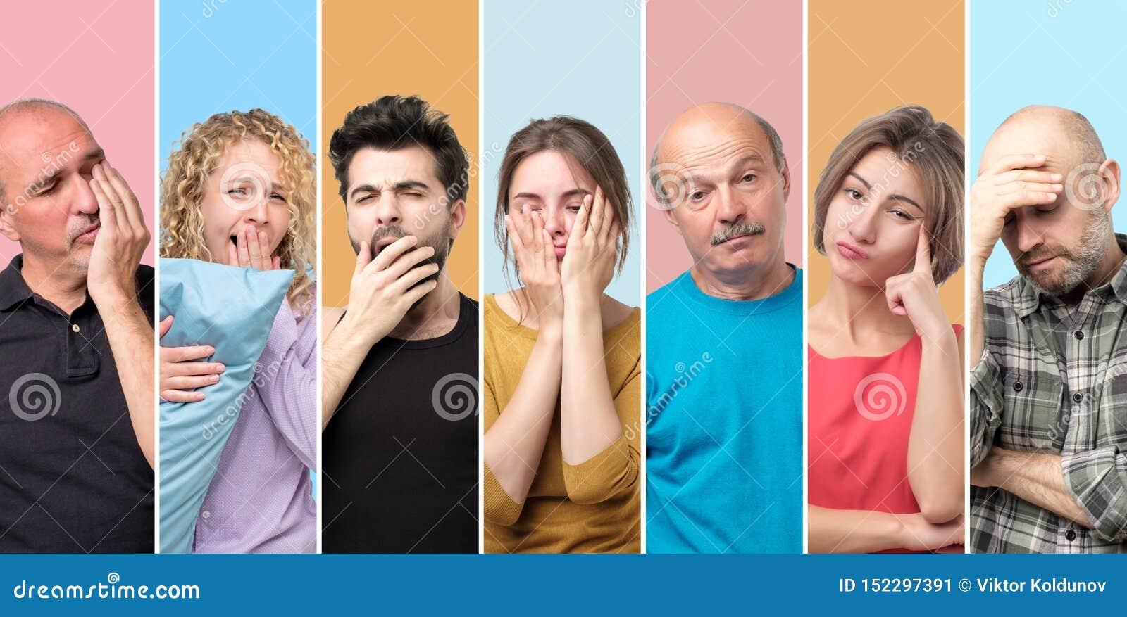 Colagem de homens sonolentos sonolentos e de mulheres que estão sendo cansados e esgotados