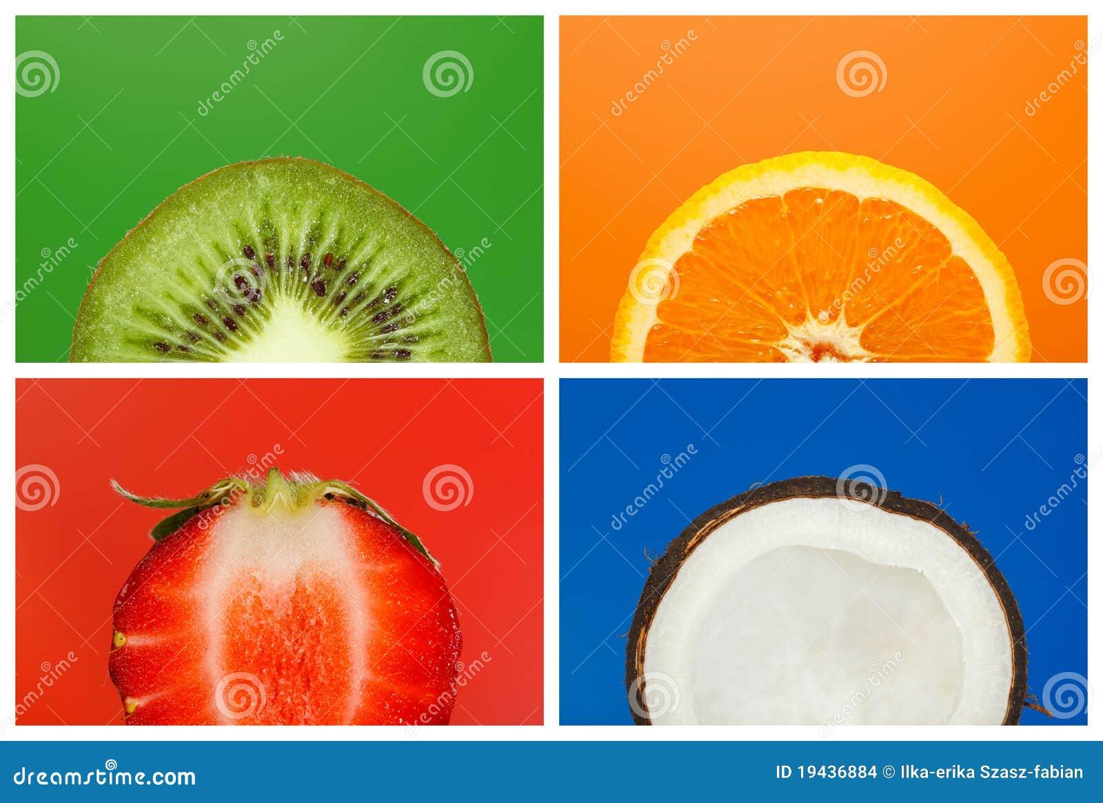 Colagem de meias frutas