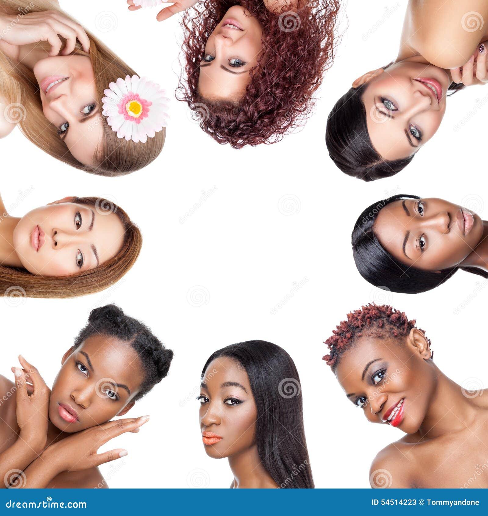 Colagem de portaits múltiplos da beleza das mulheres com vários tons de pele