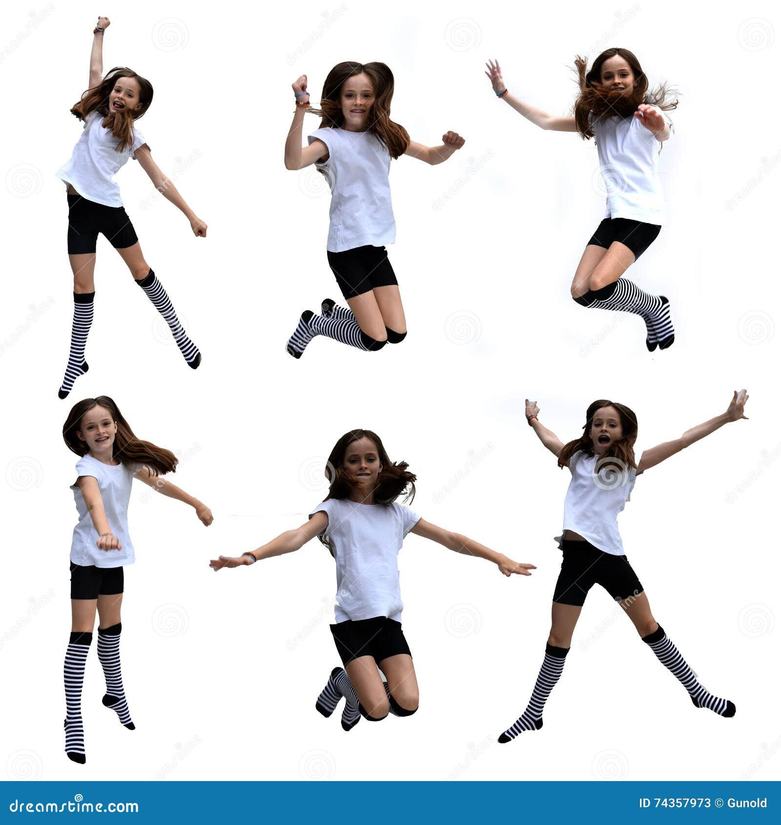 Colagem de salto da menina
