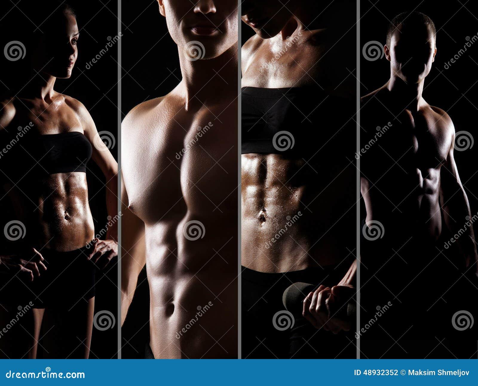 Colagem do ajuste e de corpos masculinos e fêmeas  sexy