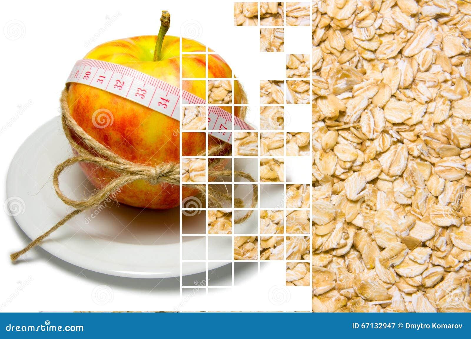 A colagem do cerco da maçã da fita de medição amarrou com guita a