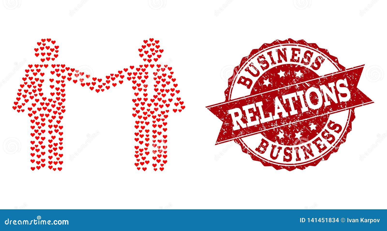 Colagem do coração do amor do ícone das relações dos homens de negócios e da filigrana de borracha