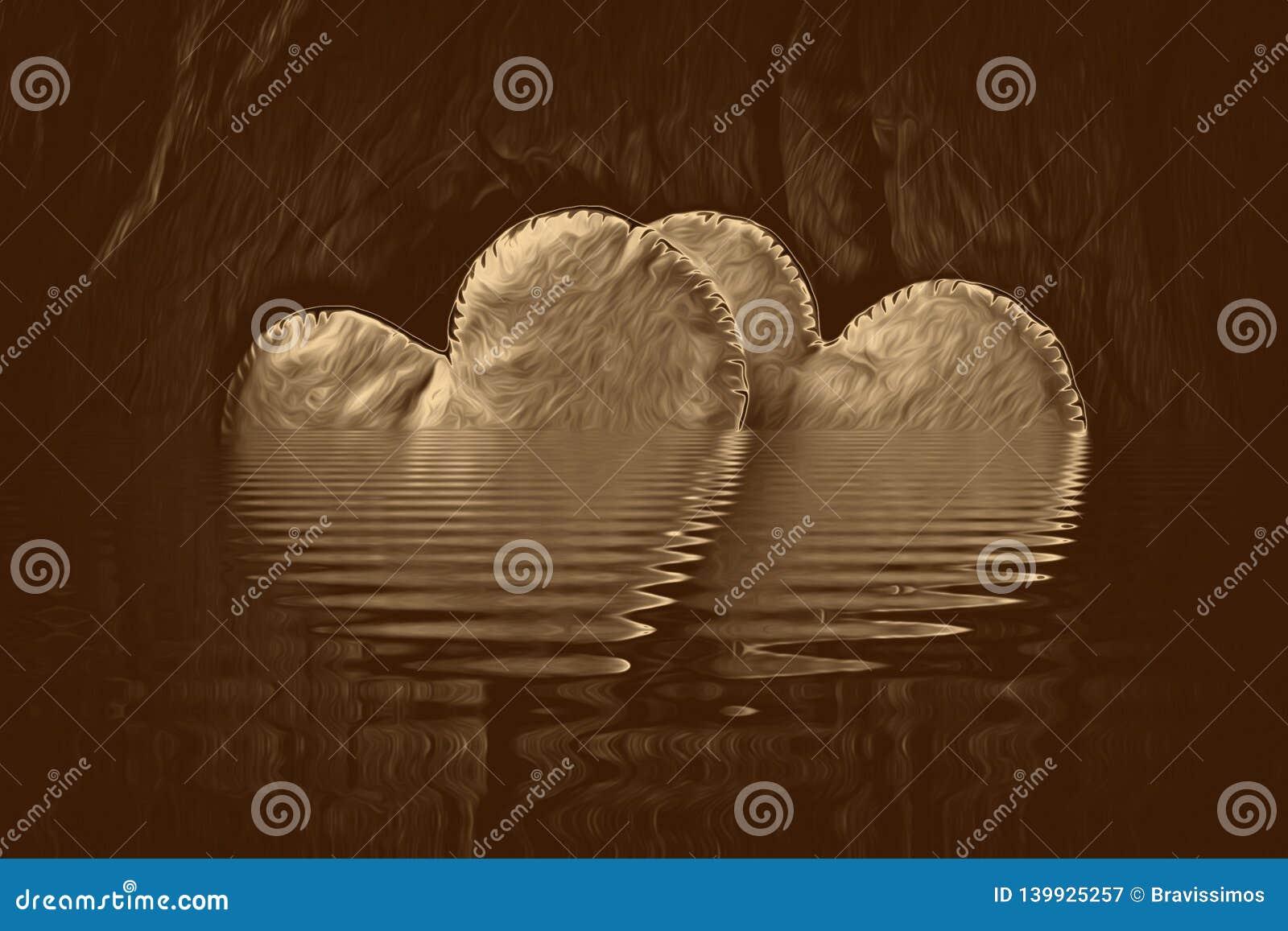 Colagem do coração do ouro para a textura da arte finala do amor, escrevendo
