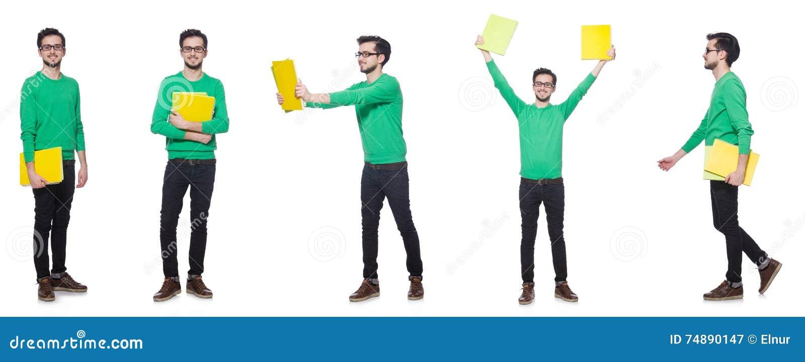 A colagem do estudante com os livros no branco