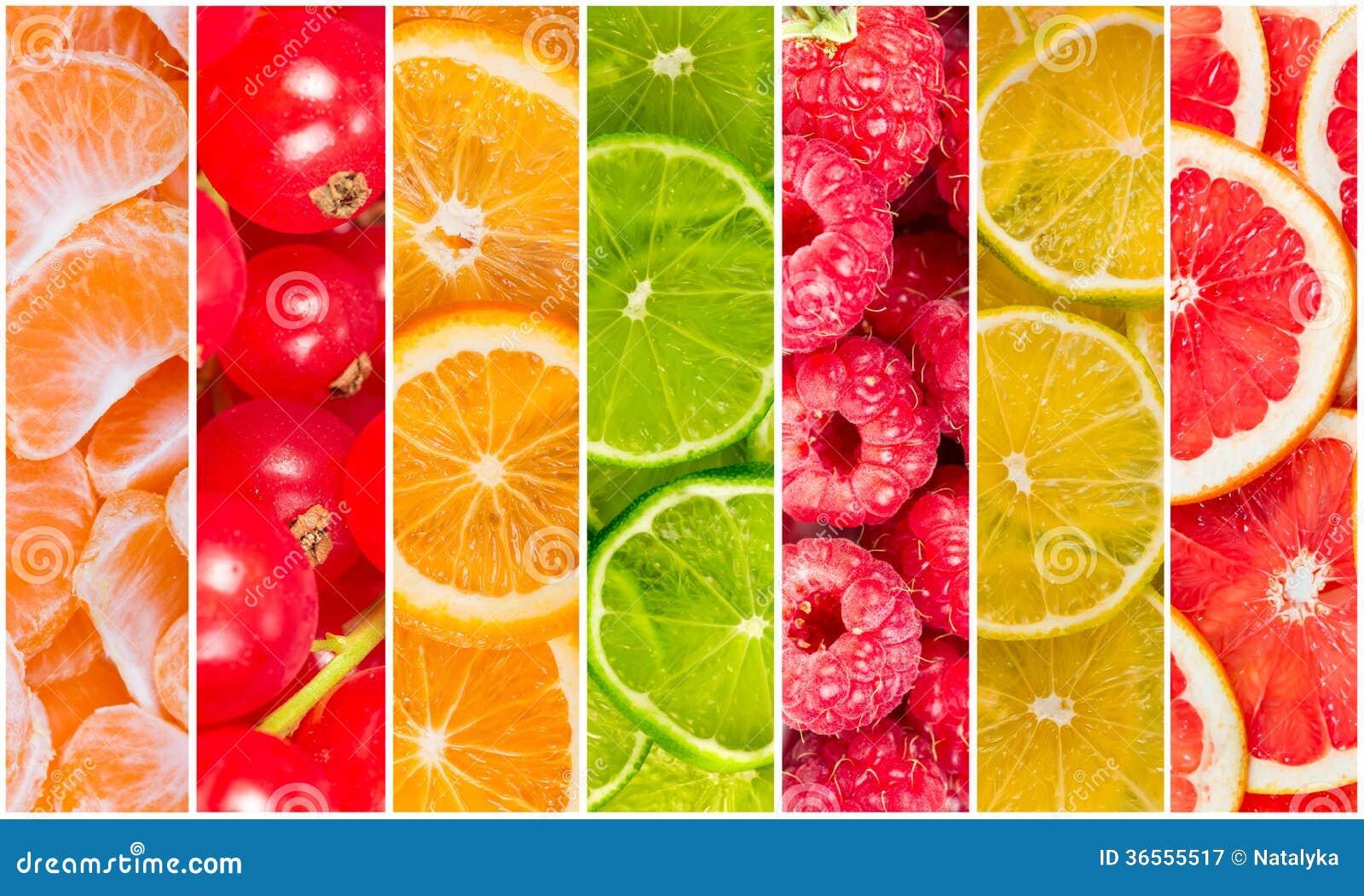 Colagem do fruto fresco do verão