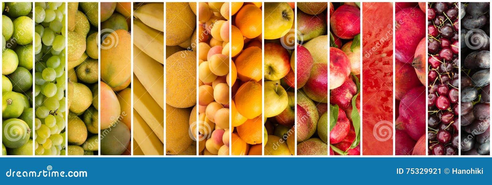 Colagem do fruto - fundo do alimento