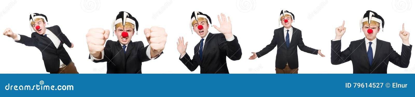 A colagem do homem de negócios do palhaço isolada no branco