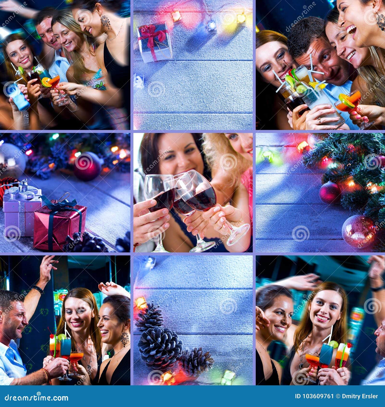 Colagem do partido do ano novo composta de imagens diferentes