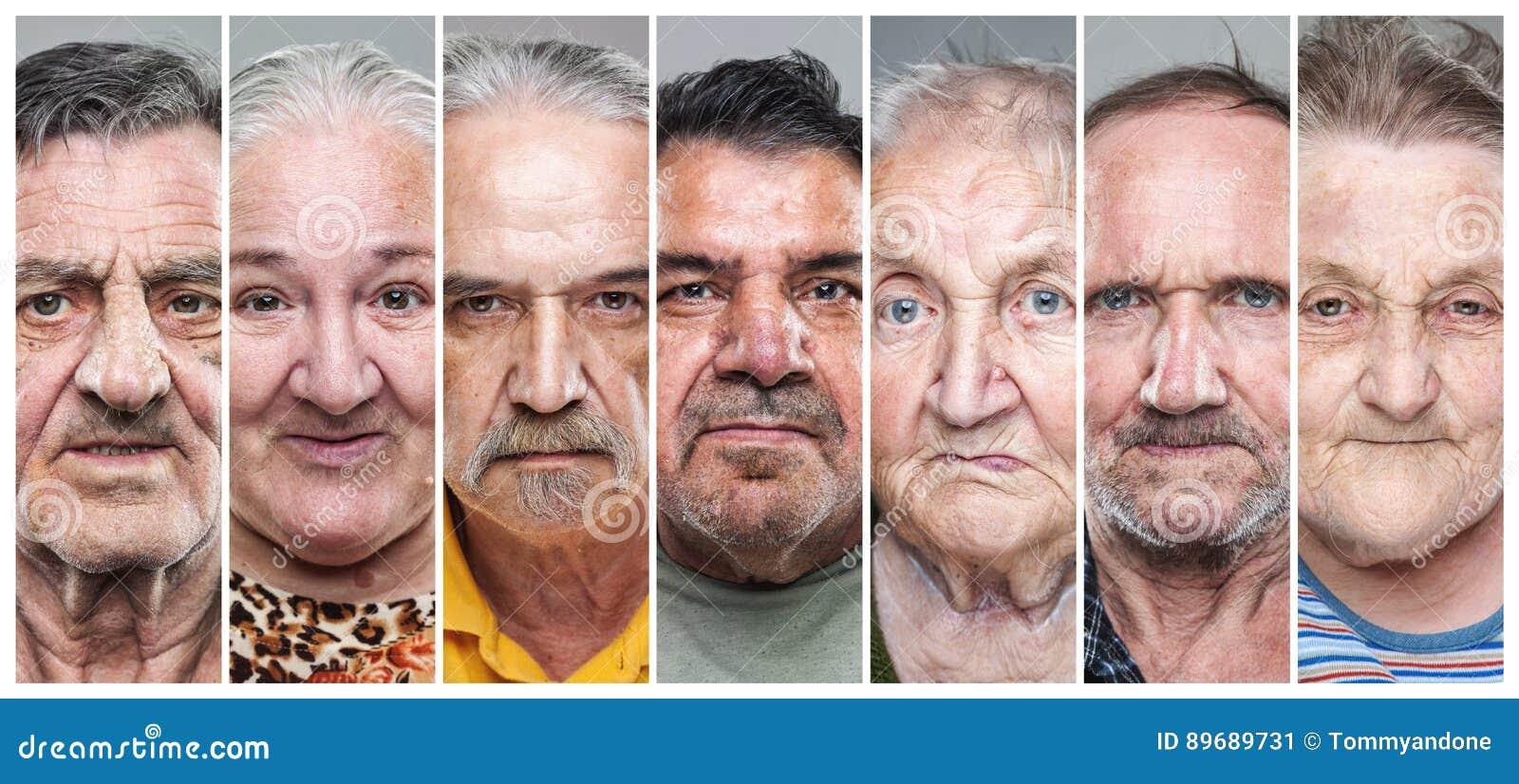 Colagem do retrato do close up de homens e de mulheres idosos