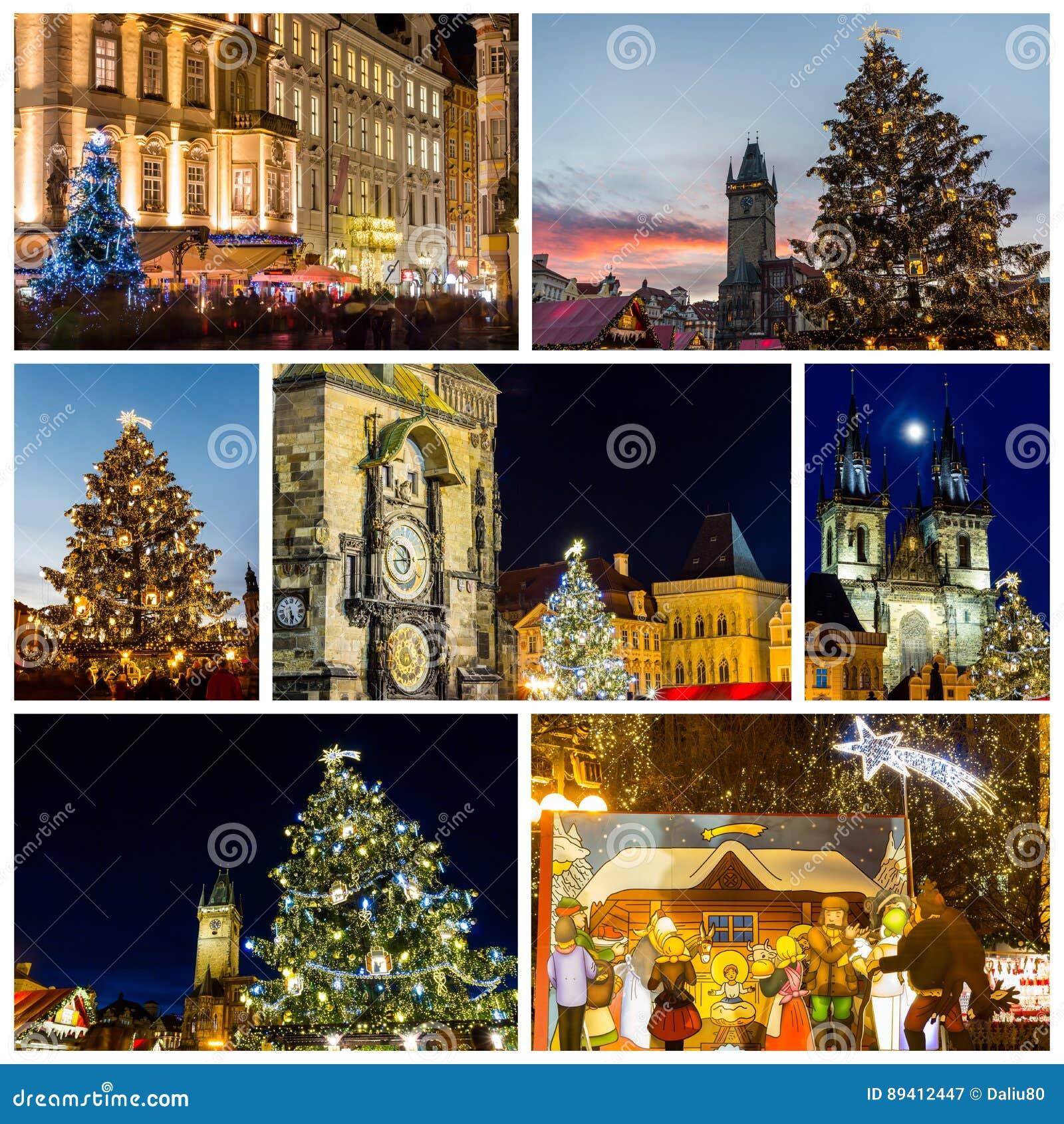 Colagem dos marcos de Praga no inverno com mercado a do Natal