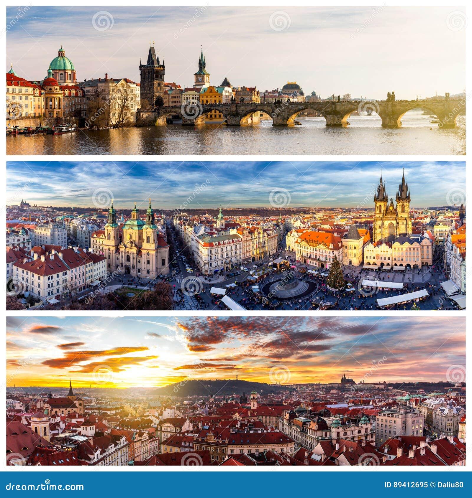 Colagem dos marcos de Praga Ponte de Charles, catedral de Sai