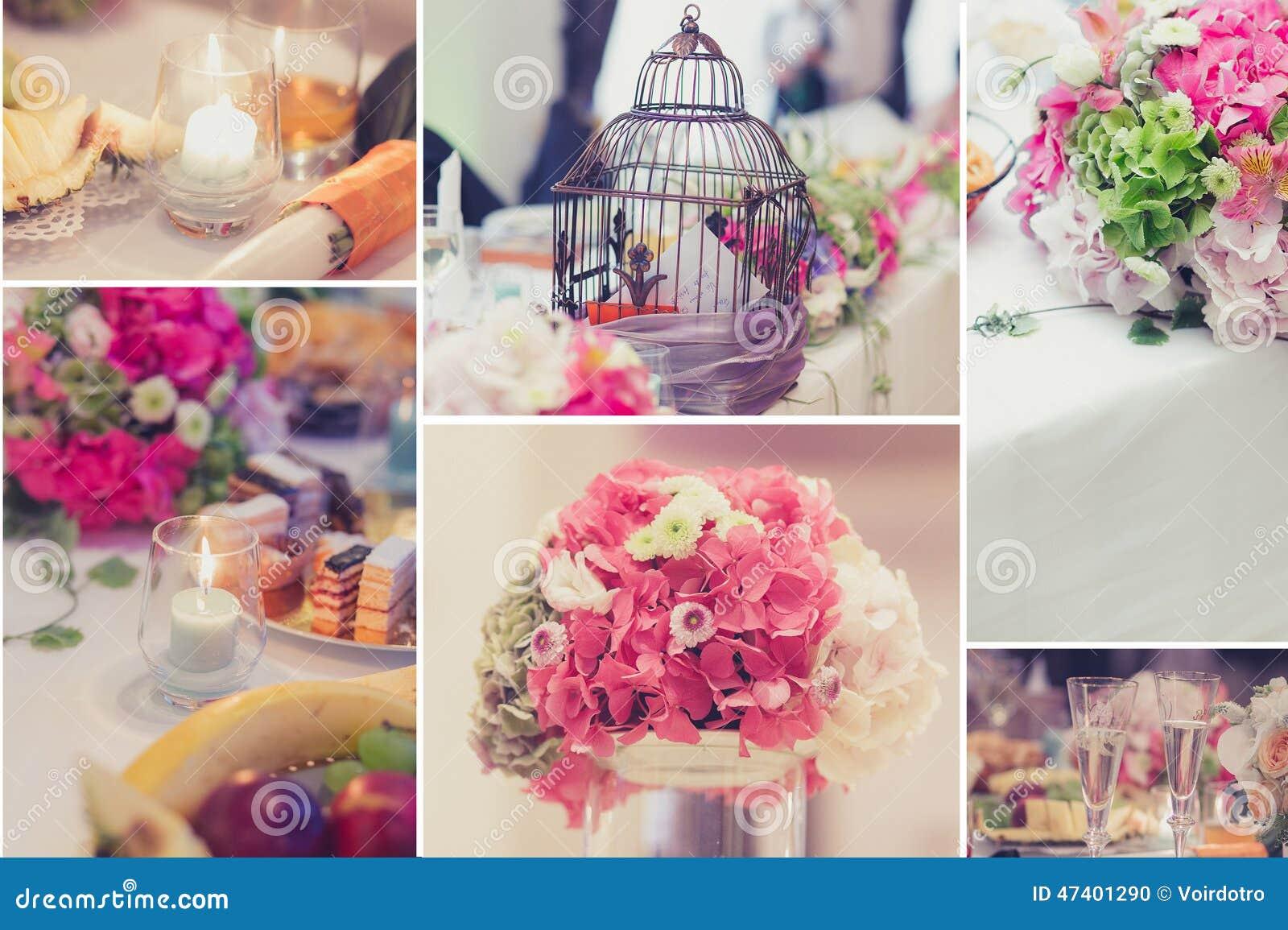 Colagem nupcial das decorações da tabela
