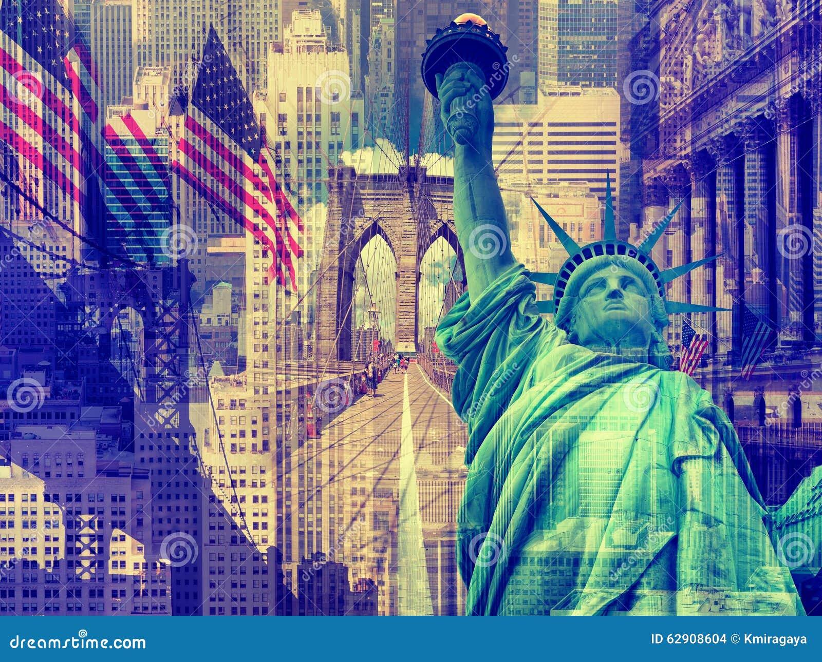 Colagem que contém diversos marcos de New York