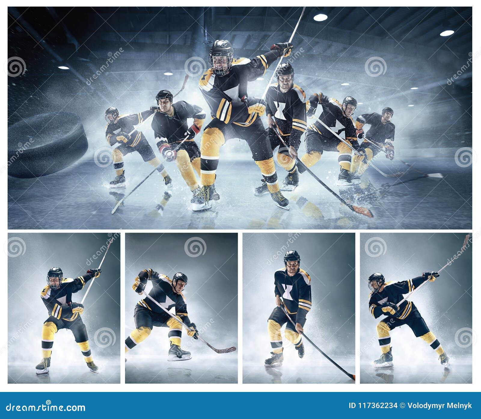 Colagem sobre jogadores de hóquei em gelo na ação