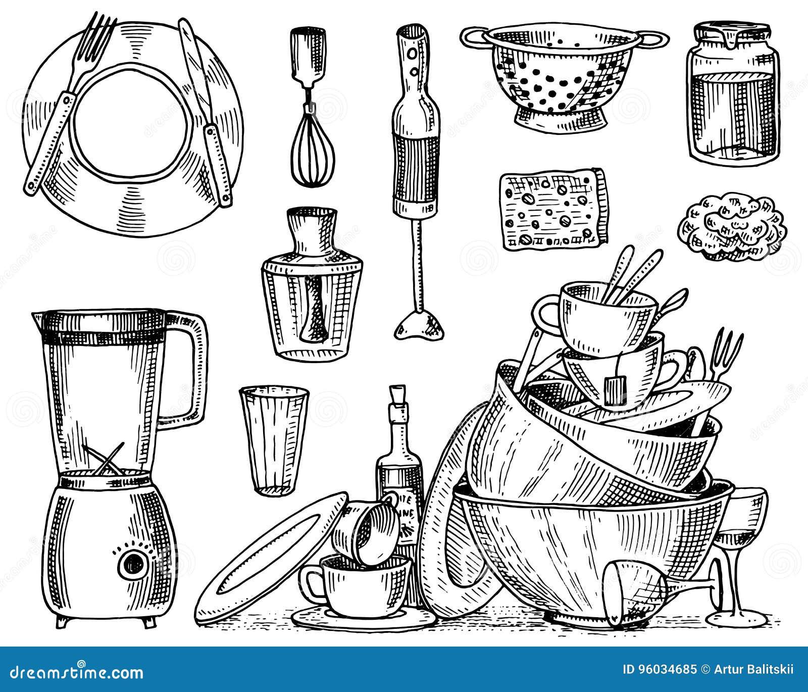 Colander, blender, juicer, brudni naczynia, dżem i gąbka dla myć, Szef kuchni i brudni kuchenni naczynia gotuje materiał,