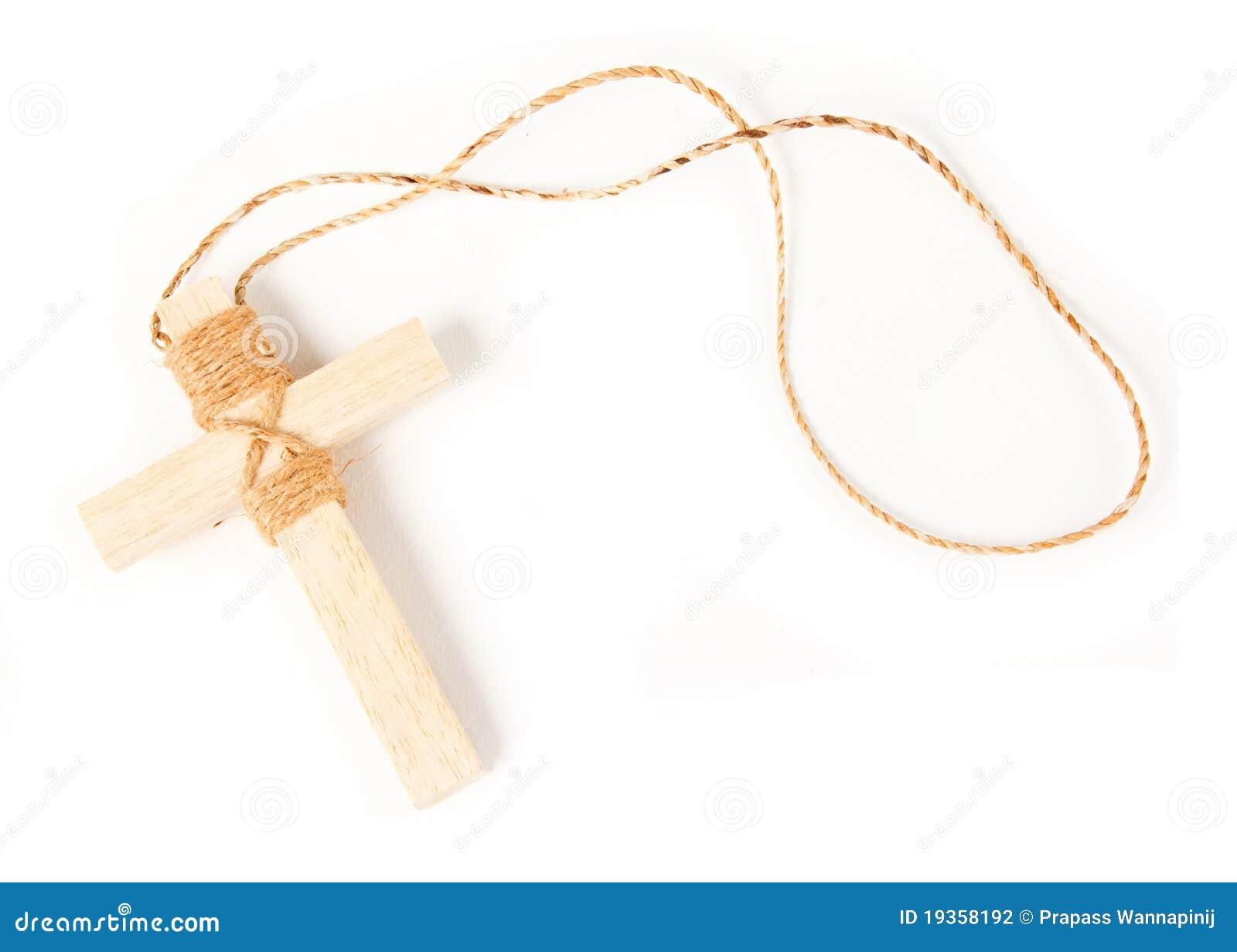 Colar antiga de madeira do crucifix do olhar isolada