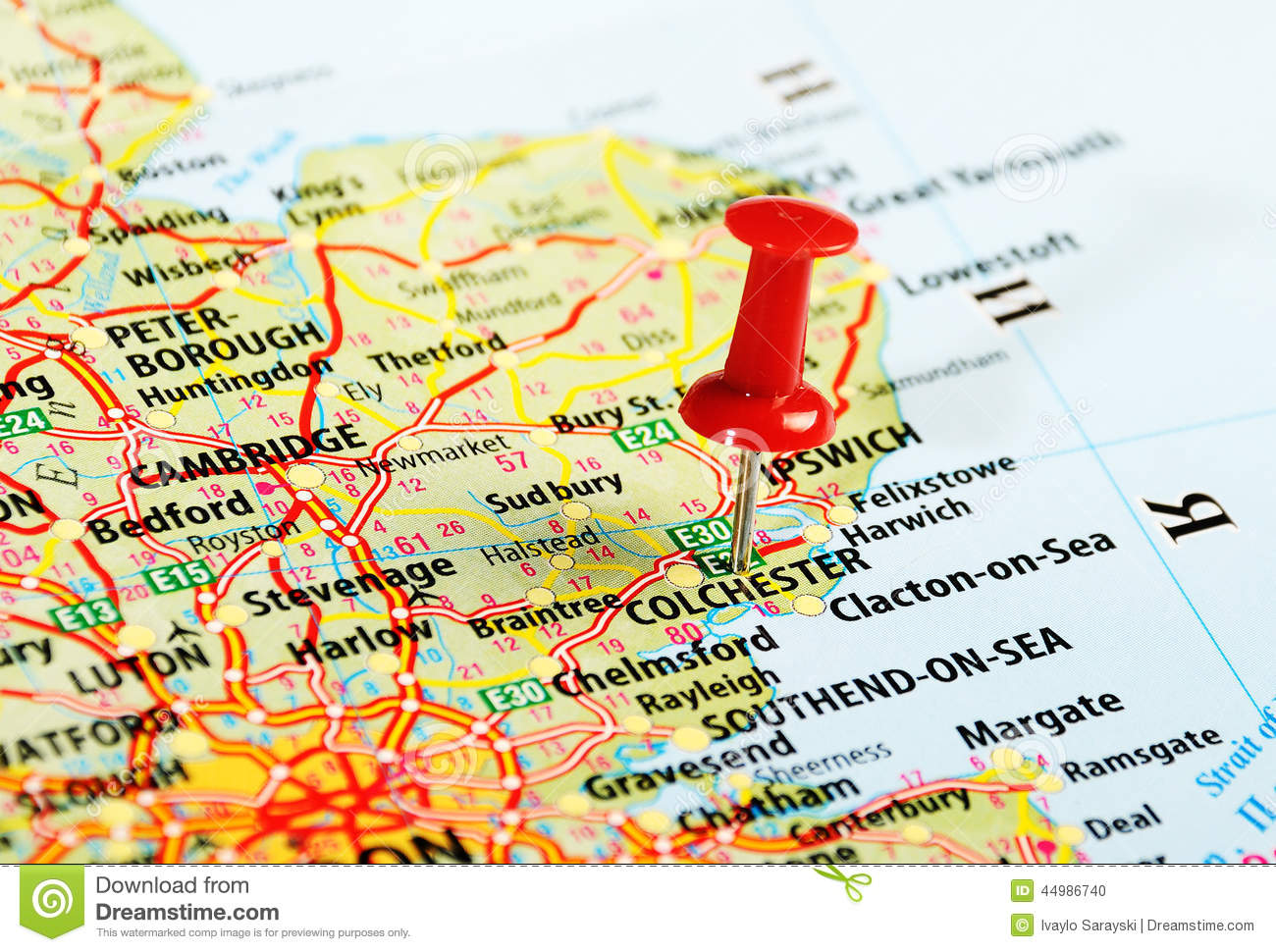 Colchester UK map pin stock photo. Image of road, destination