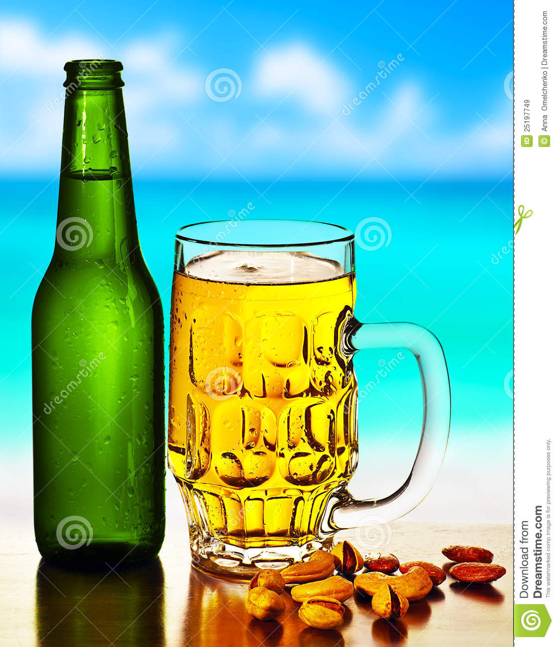 Cold beer on the beach stock image. Image of beach, nuts ...