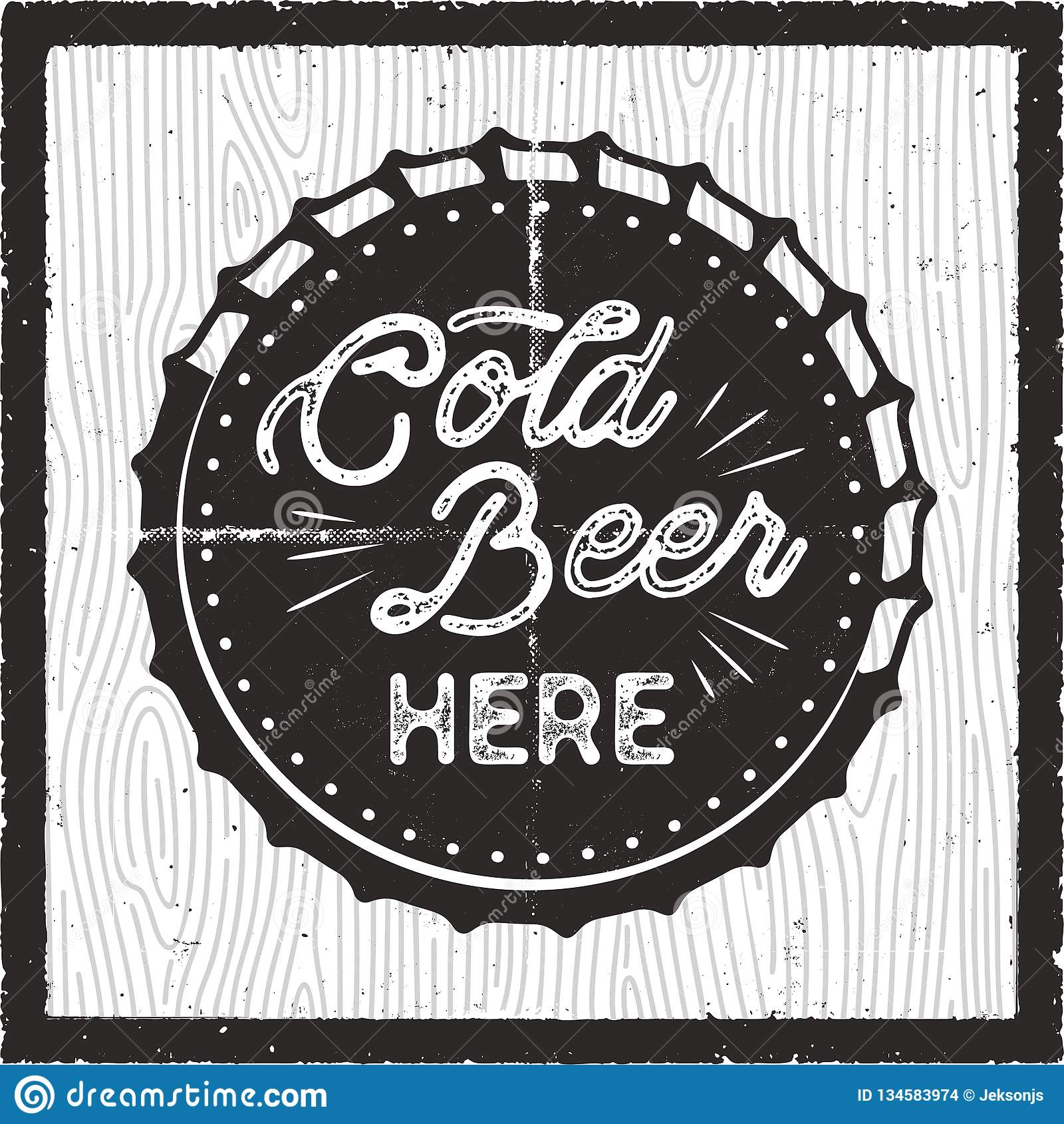 Cold Beer Here Retro Craft Brewery Card Pub Poster Design