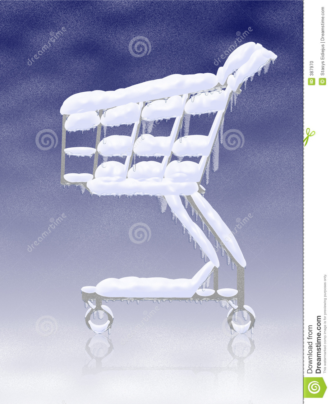 Cold buy. Snowy frozen shopping cart