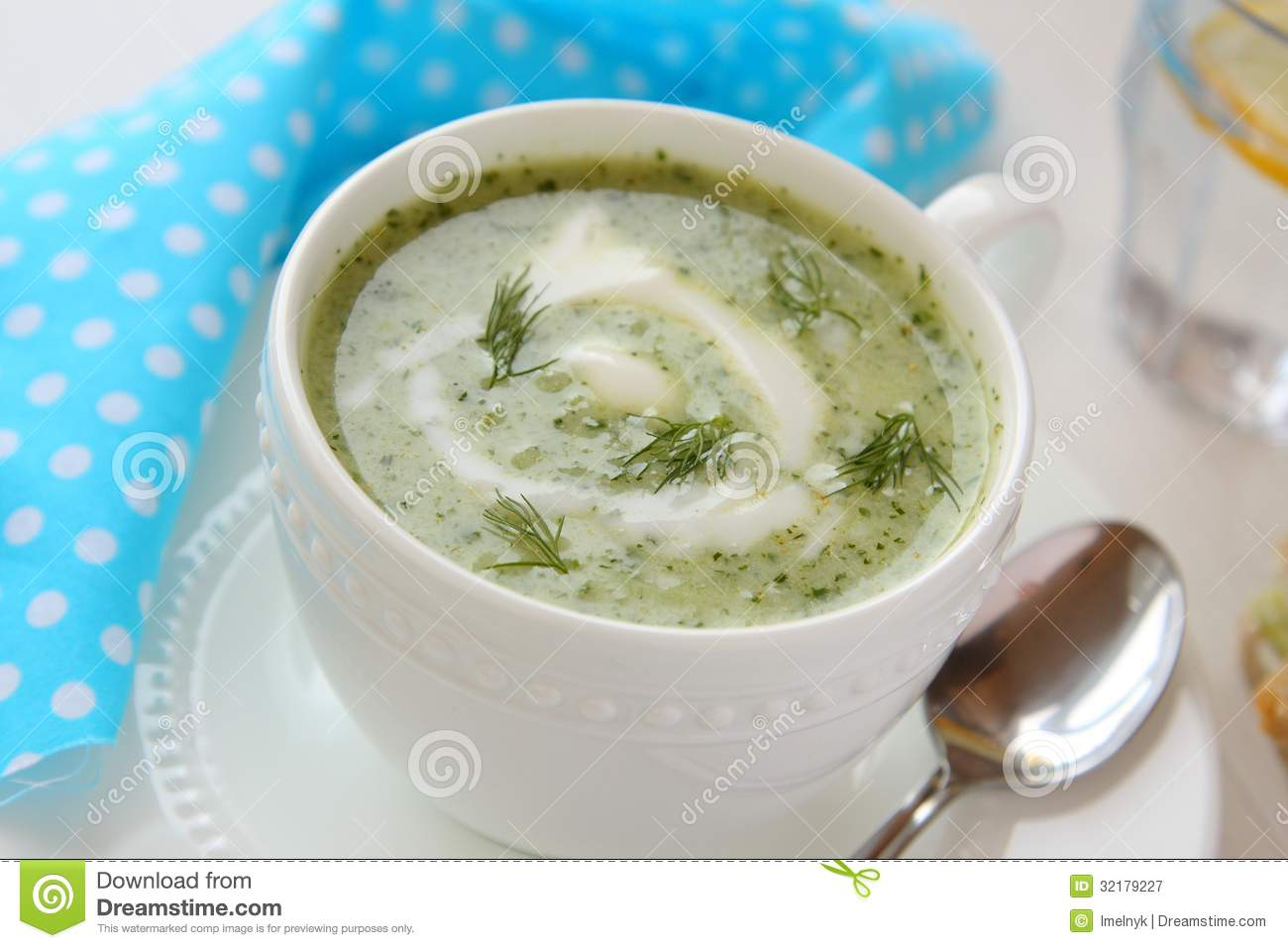 Cold Cucumber Soup With Dill And Yogurt Royalty Free Stock Photography ...