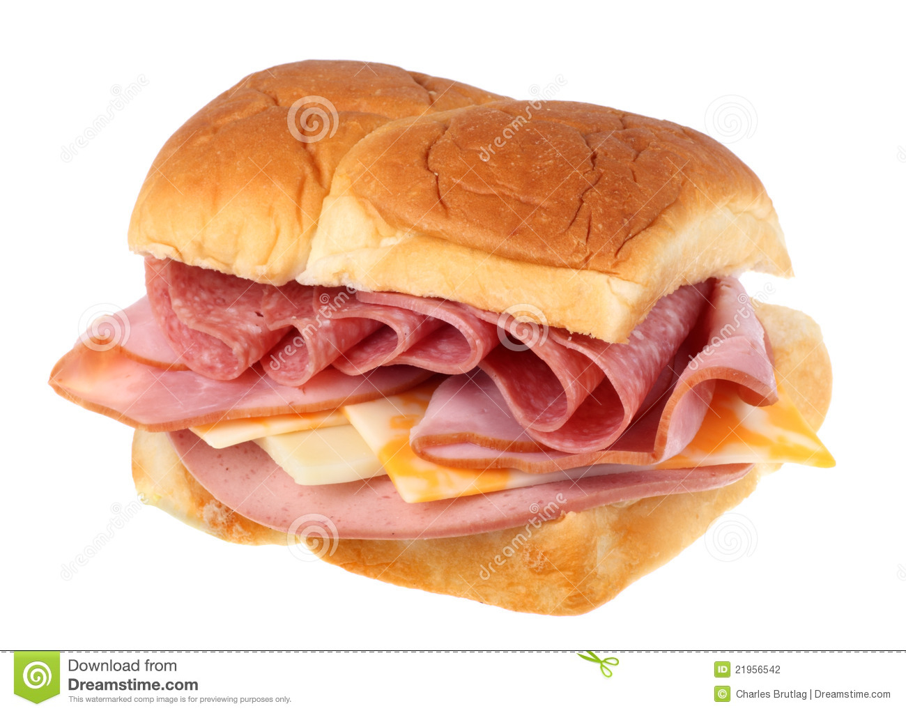 Sandwich with ham, pepperoni, cheese and bologna isolated on white.