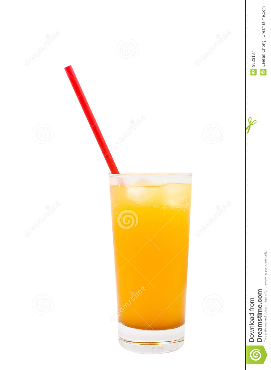 Cold Drink in aTall Glass with a Red Straw