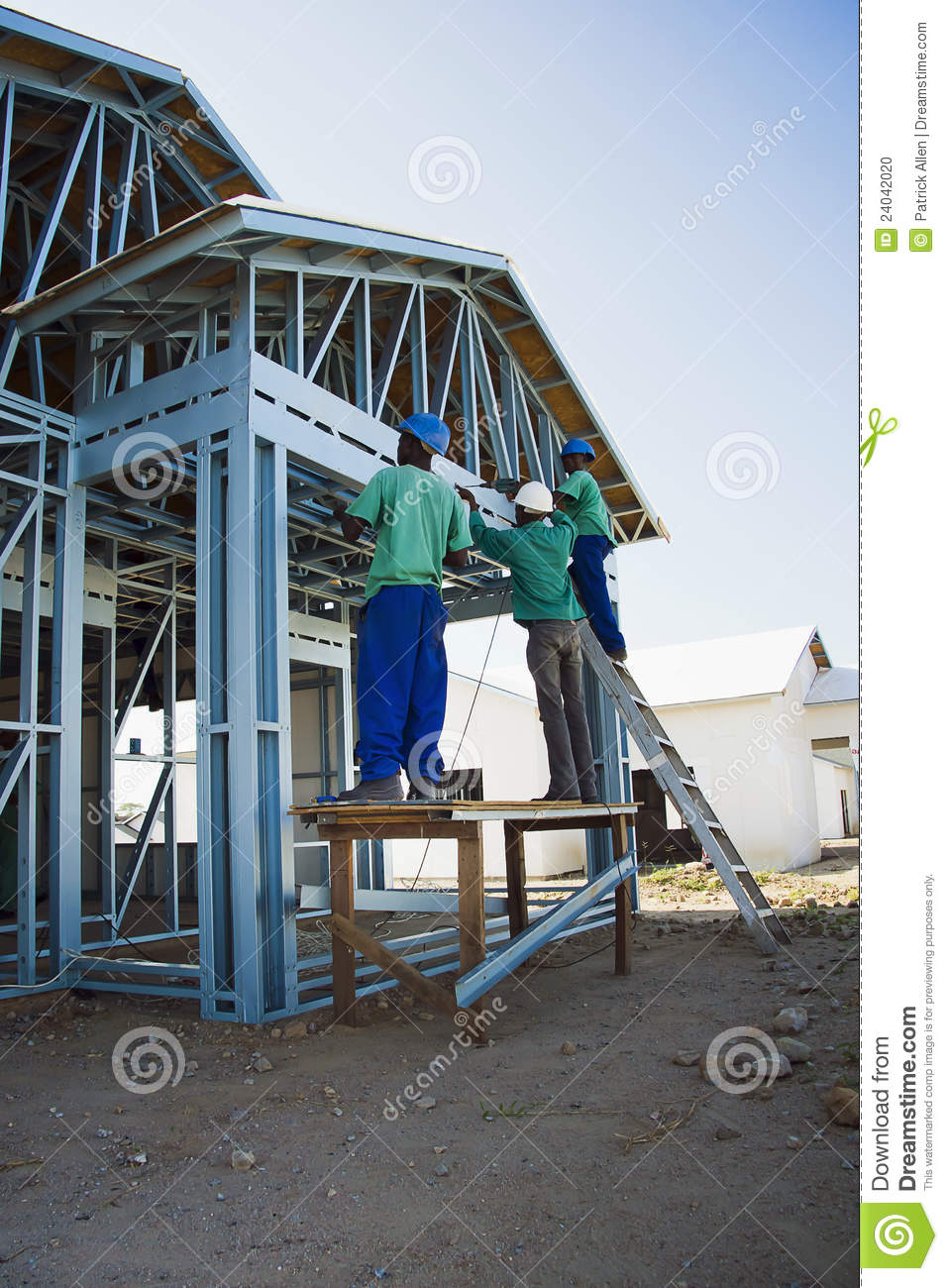 cold formed steel framing construction site editorial image