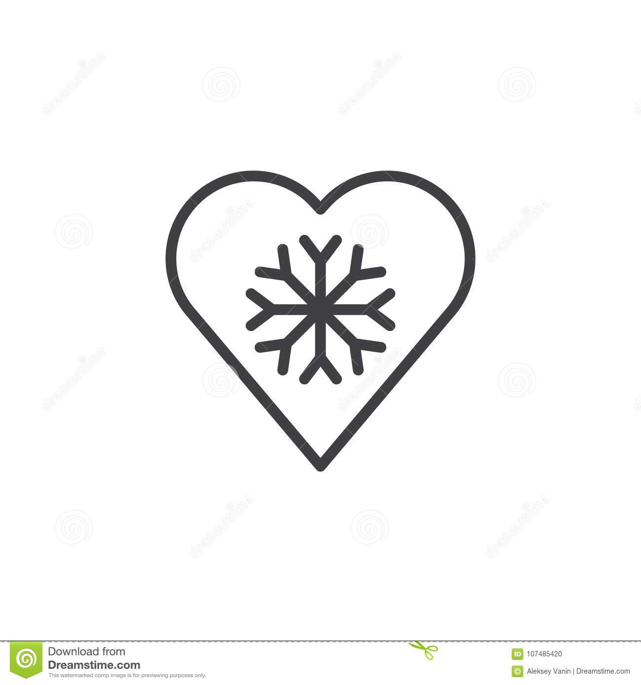 Cold heart line icon