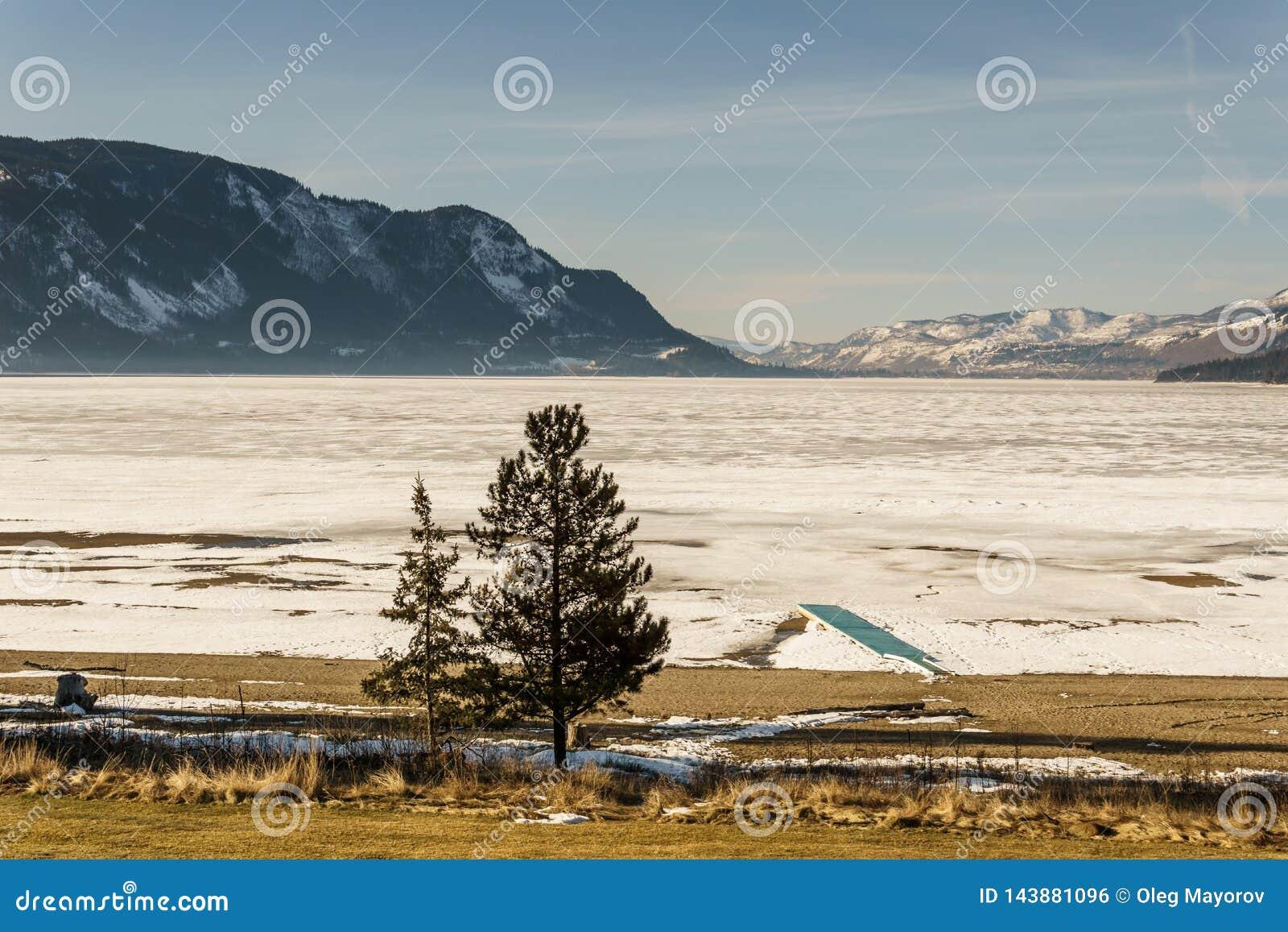 Cold morning landscape of frozen Little Shuswap Lake British Columbia Canada